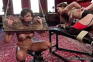 Two bound slaves rough fucked in threesome