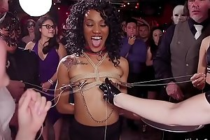 Monster tits blonde and ebony at bdsm party