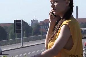 Teen busty braless cycling girl