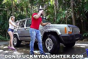 DON'_T FUCK MY DAUGHTER - Naughty Teen Sierra Nicole Fucks Carwash Man