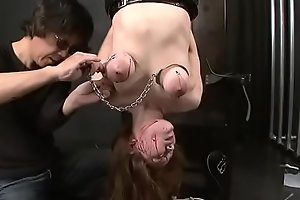 japan BDSM piercing breast with needle &amp_ nail