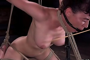 Hairy babe in strict hogtie vibrated