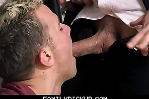 Young Blonde Twink Step Son Sex With Step Dad After Spilling Lube On Floor