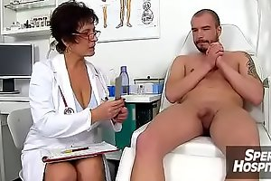 Gabina a mature uniform woman CFNM exam and handjob
