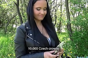 Public Agent Sticky facial for busty hot Czech teen under railway bridge
