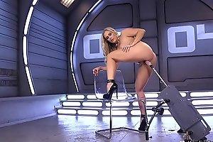 Huge knockers blonde in high heels mainly machine