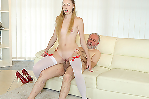 Old man uses his huge sex experience to satisfy a fresh and very hungry hottie. He gives her a lot of anal pleasures on the couch.