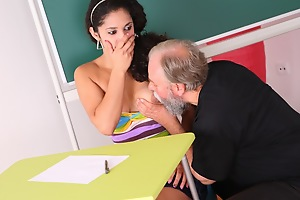 Lara is a busty student who is struggling in class. She thinks by having sex with her older teacher, she can convince him to give her a better grade in his class.