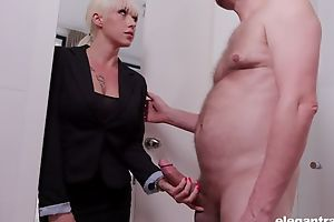 Elegant blonde woman in stockings enjoys being fucked